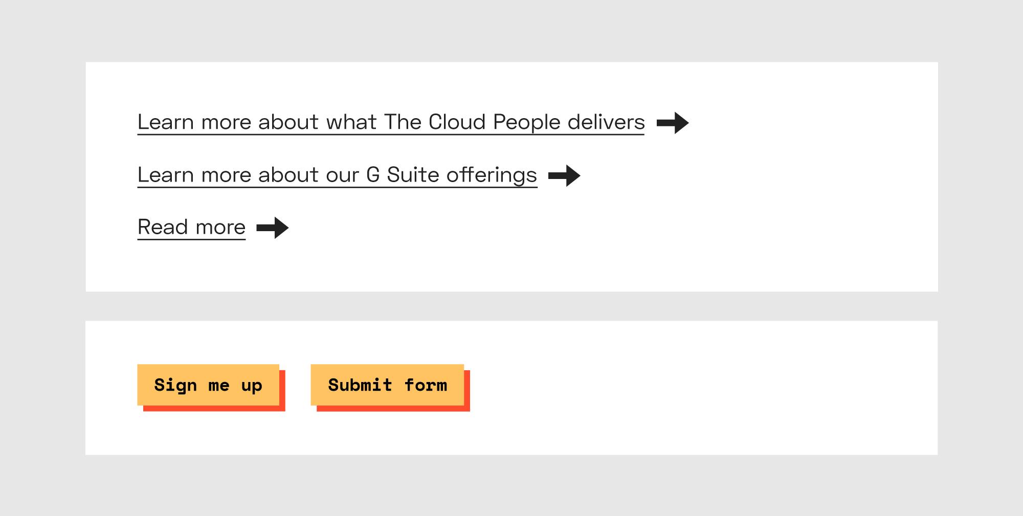 Tre tekstlenker med understrek og pil bak og to oransje knapper.